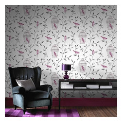 Graham & Brown - Birds & Cages Wallpaper - We have created a beatuiful Birds & Cages with suttle colours, this would look good as a feature wall and all 4 walls, the mixture between the pink and white background make them stand out.