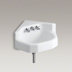 """KOHLER - KOHLER Marston(TM) 16"""" x 16"""" corner wall-mount/shelf back bathroom sink with fac - Constructed of KOHLER Cast Iron, the Marston wall-mount corner lavatory is both functional and durable, making it ideal for high-volume usage in a commercial setting. This model is for space-saving corner installations, features a 5-1/2"""" center drilling a"""