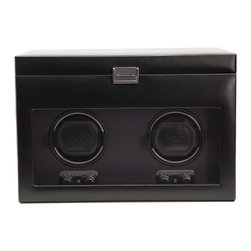 WOLF - Heritage Double Watch Winder w/cover, storage & travel case in Black - Whether you're at home or traveling, you'll never have to worry about your watch keeping perfect time. This double watch winder has a removable travel case so your prized possession has a home away from home.