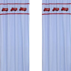"Sweet Jojo Designs - Firetruck Window Panels (Set of 2) - Create a stylish look for your child's room with the Firetruck Window Panels (Set of 2).  This set features 2 Window Panels that are 42"" x 84"" each."