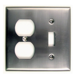 Rusticware - 791 Double Switch & Recep Switchplate - Satin Nickel - This Satin Nickel lighted door button is a stylish piece of hardware that will add to the decor of any room in your home.