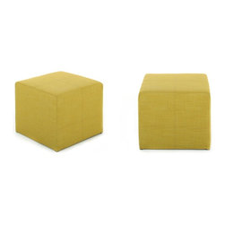 """NYFU - Alamo Ottoman-Mustard - Inspired by the """"Alamo"""" cube in Astor Place, our petite ottoman comfortably seats behinds, supports legs, and stores nicely under our feet.The mustard flavored green color complements wood furniture well. This cube ottoman is densely filled with Class A HR-35 foam, which allows the Alamo to be used as a footrest or stool. This fabric ottoman is built strong and is durable towards the on going applied pressure. It is pretty compact and lightweight, move around with ease and hide under tables when not used."""