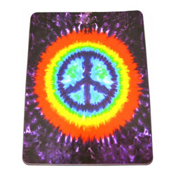Zeckos - Tie Dye Peace Symbol Cotton Tapestry 100 Inch x 90 Inch Sign - This 100% cotton, 100 inch by 90 inch tapestry features a multicolored Tie-dye background, with a peace symbol in the center. Made in India using traditional methods, the tapestry can be hung on the wall, but also makes a great bedspread, table cloth or window treatment. It makes a great gift for any peace lover.