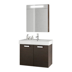 ACF - 28 Inch Wenge Bathroom Vanity Set - A wall-mount contemporary bathroom vanity that is made in engineered wood and mirrored glass and ceramic and coated in wenge.