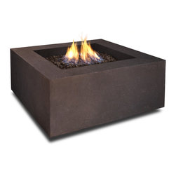 Real Flame - Real Flame Baltic Square Kodiak Brown LP Fire Table - Define your outdoor space with the clean design of this Real Flame Baltic square fire table,finished in Kodiak brown. The table is cast from a high-performance,lightweight fiber-concrete that is tinted to the finish color for increased durability.