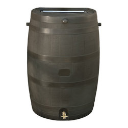 RTS Companies Inc - Rain Barrel - Flat Back - 50 USG - Brown with Brass Spigot - Embrace nature's solution to our emerging water shortage-collect rainwater! Our authentic oak barrel texture is molded into each barrel and will not fade, rot or risk insect infestation. The RTS home accents rain barrel has many unique
