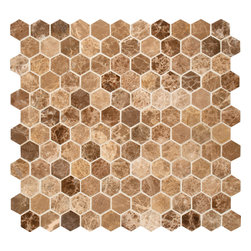 """Marbleville - Emperador Light 1"""" Hexagon Polished Marble Mosaic in 12"""" x 12"""" Sheet - Premium Grade Emperador Light 1"""" Hexagon Pattern Polished Finish Mesh Mounted Mosaic is a splendid Tile to add to your decor. Its aesthetically pleasing look can add great value to any ambience. This Mosaic Tile is made from selected natural stone material. The tile is manufactured to high standard, each tile is hand selected to ensure quality. It is perfect for any interior projects such as kitchen backsplash, bathroom flooring, shower surround, dining room, entryway, corridor, balcony, spa, pool, etc."""
