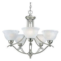 Progress Lighting - Progress Lighting P4068-09 5-Light Chandelier with Alabaster Glass Shades - Progress Lighting P4068-09 5-Light Chandelier with Alabaster Glass Shades