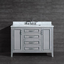 None - Daniel 48-inch Vanity in Grey with Carrera Marble Vanity Top - Impress your family and guests with this beautiful grey vanity made by Daniel. Made of quality materials,the vanity is both durable and stylish.