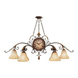 Fine Art Lamps - Castile Chandelier, 302040ST - Oblong chandelier in warm antiqued gold finish. Features unique double-sided working clock. Gold dusted hand-blown glass shades.
