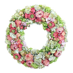 Jane Seymour Botanicals - Sorbet Hydrangea Rose Wreath - Give your decor a Victorian flourish with this delightful permanent floral wreath. While soft pink and green tones may give it a very feminine and delicate look, this wonderful wreath is actually quite hardy and designed to last.