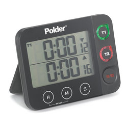 Polder Digital Dual Timer With LED Alert Black - Use the 2 separate timers of the Polder Digital Dual Timer for easy multi tasking.  The dual  independent displays feature extra large numbers making the timer easy to read.  The timer allows you to program hours  minutes  and seconds  and has a 100 hour countdown and count up feature built in.  Additionally  the built in LED alerts light up as the timer drops below 60 seconds  and the memory will recall the last setting instantly.  Product Features      Dual displays with large  easy to read numbers   Program hours  minutes  and seconds   100 hour count up/down feature   Countdown LED alerts at 60 seconds remaining   Memory function recalls last setting instantly   Magnet & stand arm for multiple mounting options
