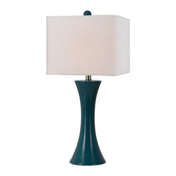 angelo:HOME - angelo:HOME Madison Contemporary / Modern Table Lamp X-LT-6558 - angelo:HOME Madison, designed by Angelo Surmelis for AF Lighting. Ceramic table lamp in blue, round corner semi square poly white hardback shade. 26H X 12W. Hand crafted ceramic in a semi gloss glaze finish. Due to hand crafting, no 2 alike.