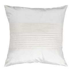 Surya Rugs - White Pleated 18 x 18 Pillow - Simple yet stylish. This pillow is a mixture of a solid and striped design. The color white accents this decorative pillow. This pillow contains a poly fill and a zipper closure. Add this pillow to your collection today.  - Includes one poly-fiber filled insert and one pillow cover.   - Pillow cover material: 100% Polyester Surya Rugs - HH017-1818P