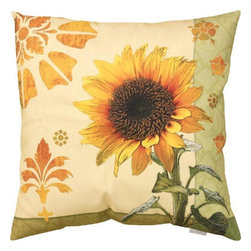 Manual - Pair of Garden Sunflower Floral Print Indoor / Outdoor Throw Pillows - This pair of 18 inch by 18 inch woven throw pillows adds a wonderful accent to your home or patio. The pillows have ClimaWeave weatherproof exteriors, that resist both moisture and fading. The front and back of the pillows have the same print, a growing sunflower against a pale yellow and green background. They have 100% polyester stuffing. These pillows are crafted with pride in the Blue Ridge Mountains of North Carolina, and add a quality accent to your home. They make great gifts for flower lovers.