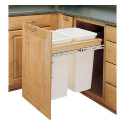 "Rev-A-Shelf - Rev-A-Shelf 4WCTM-2150DM-2 Double 50 Qt Top Mount Pullout Waste Container-White - Made from solid wood (maple) construction, the Rev-A-Shelf 4WCTM-2150DM-2 Double 50 Qt Top Mount Pullout Waste Container is designed for absolute sturdiness with front side mounting, rear adjustable mounting brackets for variances in cabinet depth, pre-assembled door mounting brackets and full-extension, ball-bearing, 150 lbs. rated over-travel slides. Physical dimensions: 18"" W x 23-1/4"" D x 21-3/4"" H. Please make sure you have a minimum cabinet opening of at least 18"" W x 23-1/4"" D x 21-7/8"" H to ensure a proper fit."
