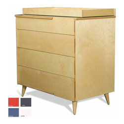 True Modern - 11-ply changing dresser-Blue - TruModerns 11-Ply Changing Table Dresser grows with your child. Just remove the changing table tray for a more grown-up look. With its turned Danish style legs and exposed plywood edges, the 11 Ply Changing Table Dresser has plenty of storage. There are cutout handles on the top and side of the top drawer and on the sides of the other drawers. Made of sustainable birch plywood. Includes the tray but packaged separately.