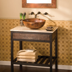"""Native Trails 30"""" Cuzco Vanity in Antique - The Cuzco Vanity Base from Native Trails features hand forged wrought iron and hand hammered copper. Available in either Antique copper or Brushed Nickel, this base is the perfect match for the Sedona Vanity Top. The Cuzco Vanity Base is available in three sizes: 24 In., 30 In. & 36 In. for flexibility in your design needs."""