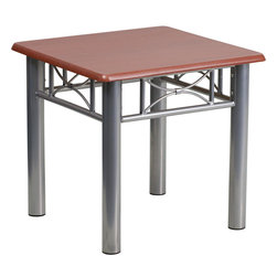 Flash Furniture - Flash Furniture Mahogany Laminate End Table with Silver Steel Frame - This durable laminate table will make a great addition to your reception or office to hold magazines and decorative items. [JB-5-END-MAH-GG]