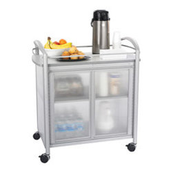 Safco Silver-Colored Impromptu Refreshment Cart with Gray Laminate Top - I like a separate coffee station. You can roll this one around, and I like the semitransparent doors.