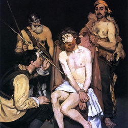 """Edouard Manet Jesus Mocked by the Soldiers - 18"""" x 24"""" Premium Archival Print - 18"""" x 24"""" Edouard Manet Jesus Mocked by the Soldiers premium archival print reproduced to meet museum quality standards. Our museum quality archival prints are produced using high-precision print technology for a more accurate reproduction printed on high quality, heavyweight matte presentation paper with fade-resistant, archival inks. Our progressive business model allows us to offer works of art to you at the best wholesale pricing, significantly less than art gallery prices, affordable to all. This line of artwork is produced with extra white border space (if you choose to have it framed, for your framer to work with to frame properly or utilize a larger mat and/or frame).  We present a comprehensive collection of exceptional art reproductions byEdouard Manet."""