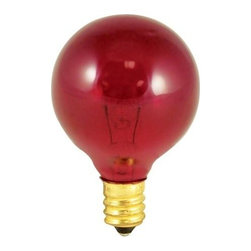 Bulbrite - Globe Light Bulbs in Transparent Red - 25 Bul - One pack of 25 Bulbs. 130V candelabra E12 base incandescent G12 bulb type. Dimmable. Color temperature: 2700K. Average hours: 2500. Equivalency: 10 watts. Color rendering index: 100. 360 degrees beam spread. 1.5 in. Dia. x 2.38 in. H