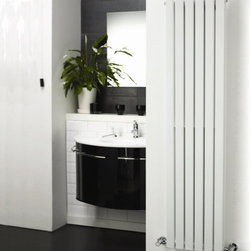 Hudson Reed - White Vertical Flat Panel Designer Radiator Heater 63 x 14 & Valves - Six vertical panels, finished in superior white powder coat, make this radiator a striking design feature of any contemporary living space. The vertical panels deliver an impressive heat output of 980 Watts (3345 BTUs).Stylish and effective, this modern classic connects directly into your domestic central heating system by means of the reliable radiator valves included.White Vertical Flat Panel Designer Radiator 63 x 14 Features  Dimensions (H x W x D): 63 (1600mm) x 14 (354mm) x 2.15 (55mm) Output: 980 Watts (3345 BTUs) Pipe centres with valves: 17 (430mm) Number of panels: 6 Fixing Pack Included (see image above) Designed to be plumbed into your central heating system Suitable for bathroom, cloakroom, kitchen etc. Weight: 38.6 lbs (17.5kg) Please note: Angled radiator valves included. Please note: This Designer Radiator is supplied with vertical mounting brackets only, it cannot be fitted horizontally with the fixings included  Please Note: Our radiators are designed for forced circulation closed loop systems only. They are not compatible with open loop, gravity hot water or steam systems.