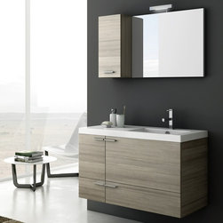ACF - 39 Inch Bathroom Vanity Set - Set Includes: . Vanity Cabinet (2 doors, 1 drawer). Fitted ceramic sink (39.4 inch x 18 inch ). Mirror (W 27.6 inch x H 21.8 inch ). Vanity light. Short Storage Cabinet (W 9.8 inch x H 21.8 inch x D 8.2 inch ). Vanity Set Features:. Vanity cabinet made of engineered wood. Cabinet features waterproof panels. Available in Larch Canapa, Wenge, Grey Oak Senlis, Glossy White. Cabinet features 2 doors, 1 soft-closing drawer. Faucet not included. Perfect for modern bathrooms. Made and designed in Italy. Includes manufacturer 5 year warranty.