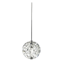 Edge Lighting - FJ Bubble Ball Pendant 24V - FJ Bubble Ball pendant features bocci bubble glass. Includes coaxial cable and 1 FJ-MCH (male connector heavy-duty). Available with 10, 20, or 30 feet of cable length. Order fixture based on longest desired cable length. Bubble glass available in clear, blue, amber or ruby red. Finish available in Satin Nickel. One 20 watt, 24 volt, T3 G4 bi-pin halogen lamp included. General light distribution. ETL listed.