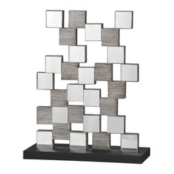 Renwil - Renwil Cube Sculpture - Mirror and wood stack up over the black base to create this modern cube sculpture. It's a perfect abstract decoration for your home or office.