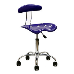 LexMod - Rush Acrylic Task Chair, Blue - Take in some rays of excitement with the Rush Acrylic Task Chair. Let creativity flow rampant as you work in style. Positioned for growth, cut out holes in the seat make sure you stay climate steady even as you embark on new standards of conduct.