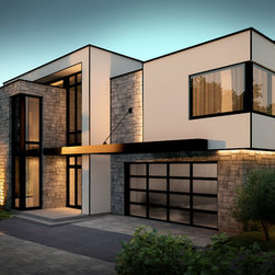 Contemporary - Garage Doors - 16' x 7', Black aluminum frame, Clear glass