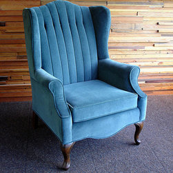 Imitation blue mohair covered wingback chair - photo, J.D.