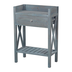 Sterling Industries - Sterling Industries 137-009 Biscayne-Single Drawer Side Table w/ Bottom Shelf - Side Table (1)