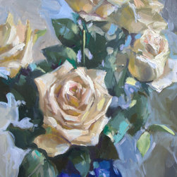 White Roses in Blue Jar oil painting - This is an original painting of white roses created in a classical alla prima style (wet on wet). This representational still life was painted from life. It will bring a touch of feminine to any interior. Its created on a gallery wrapped canvas so framing is optional depending on the style of your decorating.
