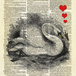 "Altered Artichoke - Swans In Love Dictionary Art Print, Black, Red & Yellow - A beautiful antique illustration of a pair of mute swans from the book ""The Boy's Own Book of Natural History"" published in 1861. I've added the hearts - they are so in love!"