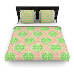 """Kess InHouse - Mydeas """"Diamond Illusion Damask Watermelon"""" Pink Green Woven Duvet Cover (Queen, - Add a splash of artistically inclined comfort to the average down comforter with a large focus to your bed! Our duvet cover is made of a beautifully crafted woven polyester fabric on top and a comforting and soft cotton/poly blend on bottom! We highly recommend washing your artwork before laying it onto your bed for added comfort and softness! These are totally machine washable and won't fade!"""