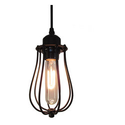 ParrotUncle - Rusty Style Bud-shape Cage Foyer Pendant Light in Matte Black - Give your home décor an upgrade with this rustic style cage foyer pendant light. It has a cage shade in matte black in the shape of a bud, you can choose an Edison bulb or other types you like to match it. With its dense rustic style, it is both a lighting fixture and a great decoration in any room. Great choice for your home decor.