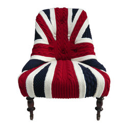 EcoFirstArt - Albert Knitted English Chair - The British Invasion is coming to your sitting room, with this classy tea cozy of a chair, knitted expertly into a Union Jack pattern. The varnished wood legs, set on wheels for extra ease, are just the perfect offset to this statement piece.