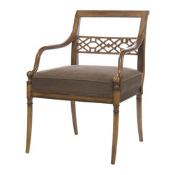 Kathy Kuo Home - Hollywood Regency Golden Sable Fretwork Occasional Arm Chair - Curves are in - just look at those arms!  Turned legs and traditional upholstery add all the right references, as does the Asian inspired carved back.  Traditional spaces will love the fretwork's instant Chinoiserie effect, while Asian inspired rooms will find this beauty an alluring and seamless addition.  Eternally attractive, this piece is protected by a one year warranty.