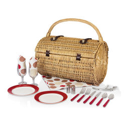 Picnic time - Barrel-MOKA Picnic Basket for 2 - The exquisitely handcrafted Barrel - Moka picnic basket was designed with elegance and romance in mind. The Barrel - Moka is a barrel-shaped, two-lid willow basket with deluxe service for two that features durable polyester lining in Moka stripes and solid cream. It includes: