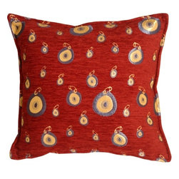 Pillow Decor - Pillow Decor - Blue Target 17 x 17 Throw Pillow - Blue and gold embroidered concentric circles create an image of hanging targets pined against a bright burgundy red background. This versatile pillow will contrast beautifully with denim or twill and will look equally pleasing on a leather sofa.
