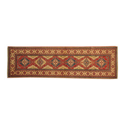 1800-Get-A-Rug - 100% Wool Red Tribal Kazak Runner Hand Knotted Oriental Rug Sh16598 - Our Tribal & Geometric hand knotted rug collection, consists of classic rugs woven with geometric patterns based on traditional tribal motifs. You will find Kazak rugs and flat-woven Kilims with centuries-old classic Turkish, Persian, Caucasian and Armenian patterns. The collection also includes the antique, finely-woven Serapi Heriz, the Mamluk Afghan, and the traditional village Persian rug.