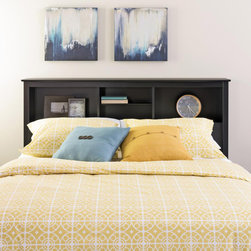 None - Broadway Black Full/Queen Bookcase Headboard - Add a finishing touch to your bedroom and storage space too with this full/queen bookcase headboard. Designed to suit any decor,this headboard adds three compartments' worth of storage to your bedroom.