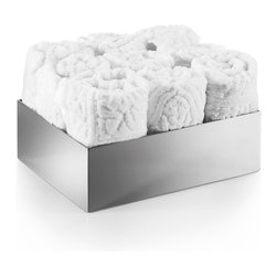 WS Bath Collections - Saon 44282 Box for Hand Towels - Saon by WS Bath Collections Box for Hand Towels and 9 Hand Towels in Stainless Steel