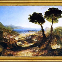 """Joseph William Turner-16""""x24"""" Framed Canvas - 16"""" x 24"""" Joseph William Turner The Bay of Baiae, with Apollo and the Sibyl framed premium canvas print reproduced to meet museum quality standards. Our museum quality canvas prints are produced using high-precision print technology for a more accurate reproduction printed on high quality canvas with fade-resistant, archival inks. Our progressive business model allows us to offer works of art to you at the best wholesale pricing, significantly less than art gallery prices, affordable to all. This artwork is hand stretched onto wooden stretcher bars, then mounted into our 3"""" wide gold finish frame with black panel by one of our expert framers. Our framed canvas print comes with hardware, ready to hang on your wall.  We present a comprehensive collection of exceptional canvas art reproductions by Joseph William Turner."""