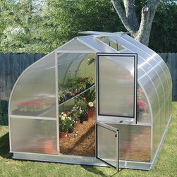 Hoklartherm - Hoklartherm RIGA IV 9.6 x 14-Foot Greenhouse - RIGA IV - Shop for Greenhouses from Hayneedle.com! Additional Features8 MM UV-coated twin wall polycarbonate over main bodyFront and back 10 MM UV-coated twin wall polycarbonate10 MM polycarbonate provides extra strengthDutch barn door measures 30W x 79H inchesPeak height measures 7.5 feetMeasures 9.6W x 14L x 7.5H feetElegant and beautiful the European-style RIGA IV 9.6 x 14-Foot Greenhouse also provides an optimal environment for your plants allowing you to grow and keep them year round. The RIGA IV is the strongest greenhouse in its class and features polycarbonate glaze giving your plants extra protection. The entire body is coated in 8 MM UV-coated twin wall polycarbonate while the front and back feature 10 MM UV-coated twin wall polycarbonate for extra protection. The windows and doors are designed for favorable ventilation throughout the greenhouse and the Dutch barn doors have a key lock. Assembly is a weekend project for one or two people.About HoklarthermAfter erecting his first greenhouse the thermo semicular arch greenhouse in his family garden in 1978 Mr. Werner Hollander graduate engineer founded Hoklartherm in 1982. Mr. Hollander's social circle was very interested in his greenhouse and more models followed quickly after. Today Hoklartherm is the biggest manufacturer of high-quality greenhouses made in Germany. Hoklartherm is in the business of developing ideas made of metal and glass for your house yard and garden. For over 20 years they have developed and produced greenhouses winter gardens pool houses pavilions terrace roofings solar verandas and much more. They take pride in innovation and creativity.