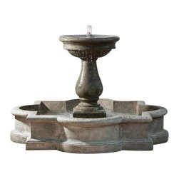 Campania - Navonna Outdoor Water Fountain, Alpine Stone - The Navonna Fountain is an endearing and delightfully whimsical water feature for your landscape. The basin designed in a classic barbed quatrefoil style, the fountain parallels the intricate details found in the cathedral of Notre Dame. Two water features rolled into one, water bubbles in the center of the urn as well as flow out of four spouts on each side of the urn.
