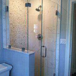 "Frameless Shower Doors, Frameless Glass Enclosures - Fully frameless corner shower enclosure.  Glass is 3/8"" PPG starphire low iron glass."
