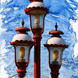 Light Post - Triple play. This original print of a light post by award-winning photographer, Jimi Iannizzotto, will add a bold shot of color to your interiors, whether displayed in the living room, den or family room. With only 100 copies left, don't wait to grab this limited edition print!